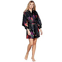 B by Ted Baker - Black floral print satin 'Juxtapose Rose' dressing gown