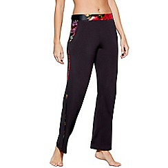 B by Ted Baker - Black floral print satin trim 'Juxtapose Rose' pyjama bottoms