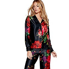B by Ted Baker - Black floral print satin 'Juxtapose Rose' long sleeve pyjama top