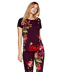 B by Ted Baker - Dark red floral print 'Juxtapose Rose' short sleeve pyjama top