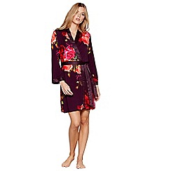 B by Ted Baker - Purple floral print satin trim 'Juxtapose Rose' dressing gown