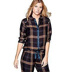 Nine by Savannah Miller - Green check print long sleeve pyjama top