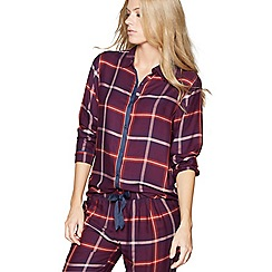 Nine by Savannah Miller - Purple check print satin long sleeve pyjama top