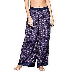 Nine by Savannah Miller - Navy tile print satin pyjama bottoms