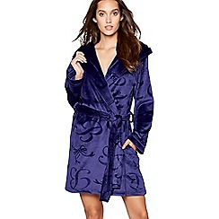 B by Ted Baker - Blue embossed fleece dressing gown