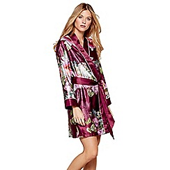 B by Ted Baker - Dark pink floral print satin 'Pure Peony' dressing gown