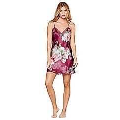 B by Ted Baker - Dark pink floral print lace satin 'Pure Peony' chemise