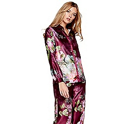 B by Ted Baker - Dark pink floral print satin 'Pure Peony' long sleeve pyjama top
