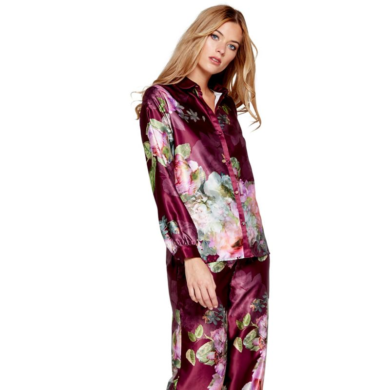 B by Ted Baker Dark pink floral print satin Pure Peony long