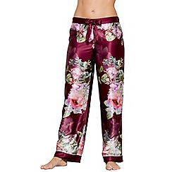 B by Ted Baker - Dark pink floral print satin 'Pure Peony' pyjama bottoms