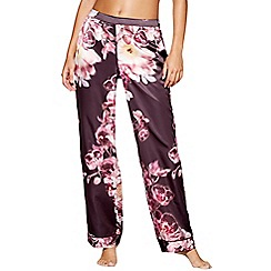 Lipsy - Purple floral print satin 'Kaitlyn' pyjama bottoms
