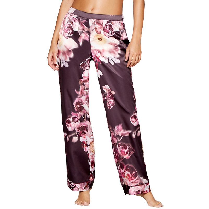Lipsy Purple floral print satin Lauren pyjama bottoms