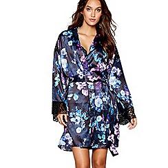 Lipsy - Black floral print satin 'VIP Roses' dressing gown