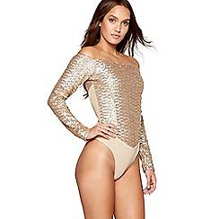 Lipsy - Gold sequin mesh 'Suzanne' body