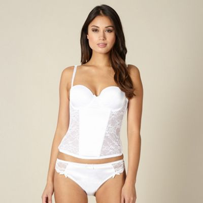 White satin lace bridal basque