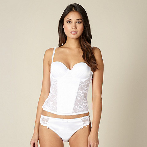 Presence - White satin lace bridal basque
