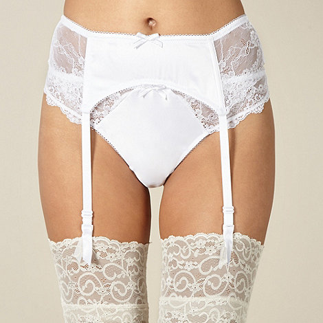 Presence - White satin lace bridal suspender belt