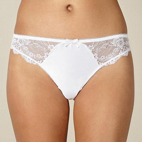 Presence - White satin lace bridal thong