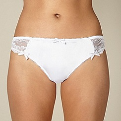 Presence - White satin lace bridal brazilian briefs