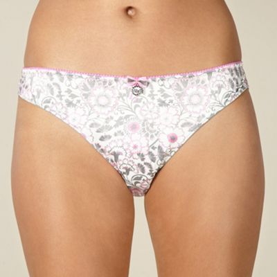 Grey floral lace brazilian briefs