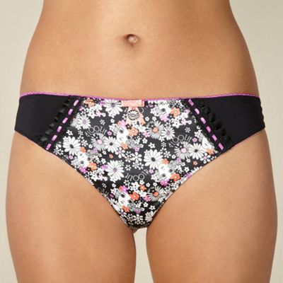 Black floral doll satin thong