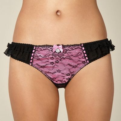 Pink lace bow ribbon thong