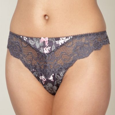 Designer grey floral lace satin thong