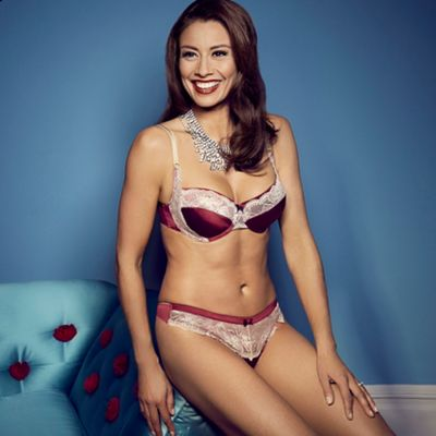 Maroon Hollie lace trimmed satin balcony bra