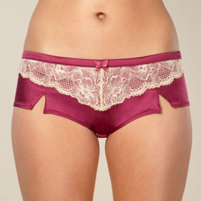 Maroon lace trimmed satin shorts