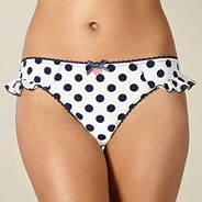 White spotted microfibre thong