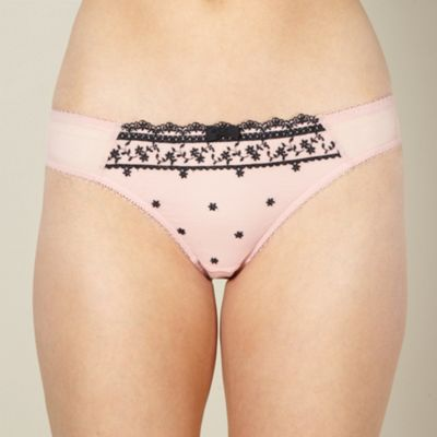 Designer pink stitch flower thong