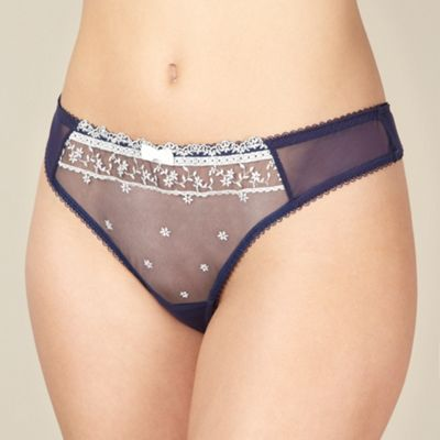 Designer navy stitch flower thong