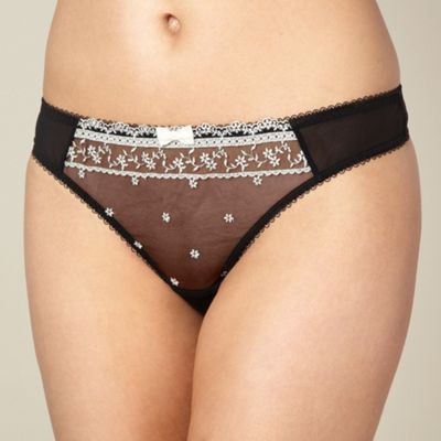 Designer black embroidered thong