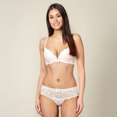 Designer pale pink lace padded plunge bra