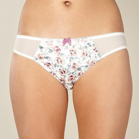 Presence - Cream floral satin lace hipster briefs