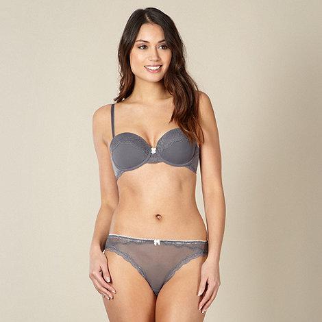 Presence - Grey mesh lace trim balcony bra