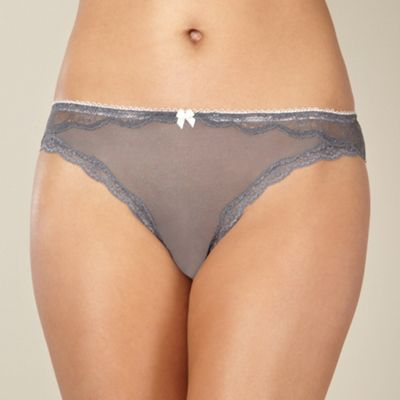 Grey mesh lace trim hipster briefs