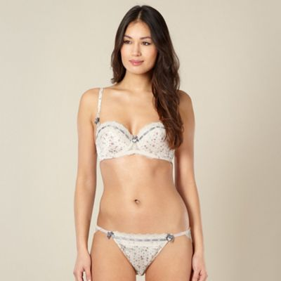 Cream satin floral lace trimmed balcony bra