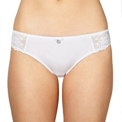 Designer white lace brazilian briefs