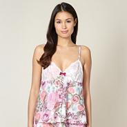 Pink butterfly lace cup camisole