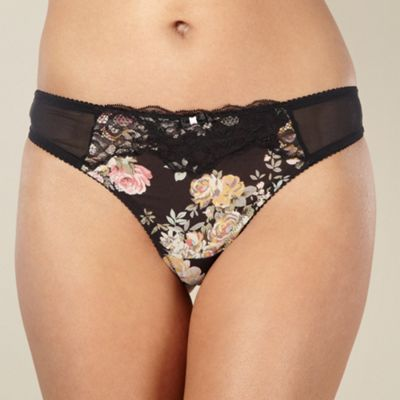Black floral lace thong