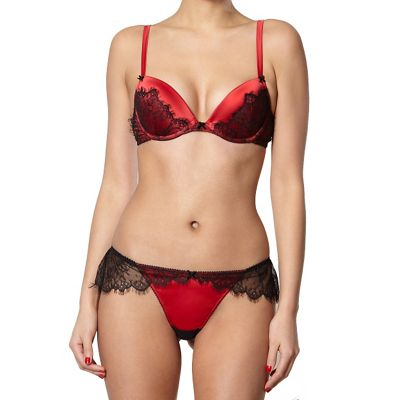 Red lace trimmed plunge bra