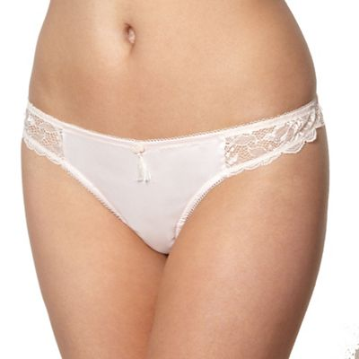Light pink lace side thong