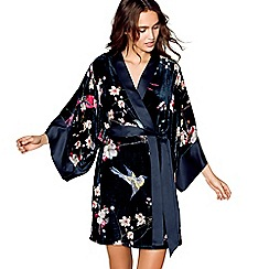 B by Ted Baker - Navy velvet 'Flight of the Orient' dressing gown