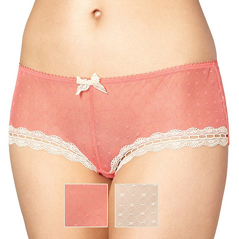 Presence - Pack of two peach and natural lace mesh shorts