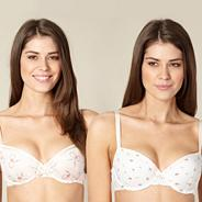 Pack of two pale pink floral and bow balcony bras