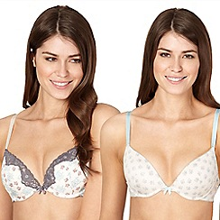 Presence - Pack of two light blue rose plunge bras