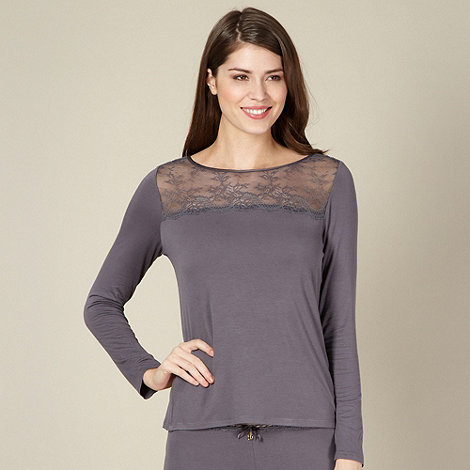 B by Ted Baker - Grey lace and jersey pyjama top