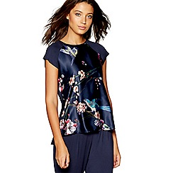 B by Ted Baker - Navy bird print 'Flight of the Orient' short sleeve pyjama top