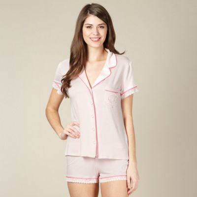B by Ted Baker Pale pink jersey shirt and shorts pyjama set - . -